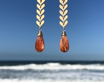 Sunstone earrings on gold plated chevron chain wrapped in gold filled wire and ear wires
