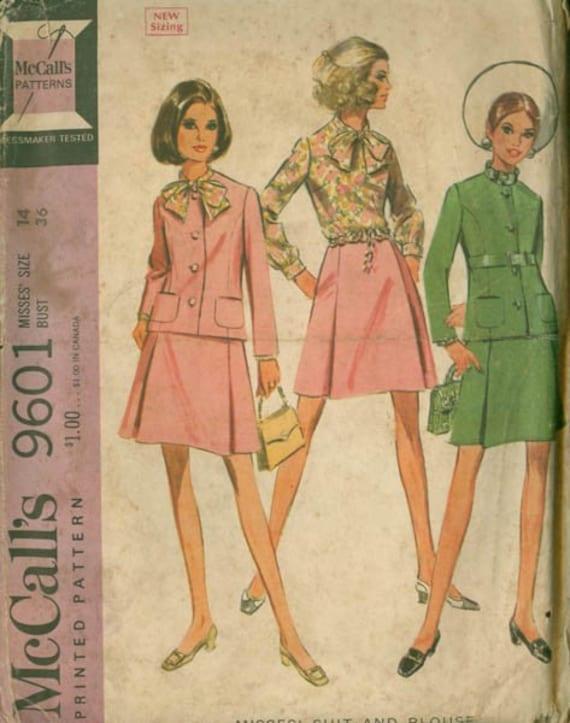 Jahrgang 1960 MOD Anzug und Bluse Nähen Schnittmuster McCalls
