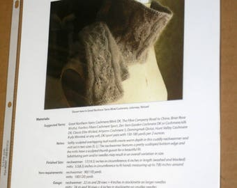 CLEARANCE Printed Leafprints Cowl and Mittens Knitting Pattern, Knitspot, cowl knitting, neck warmer, mitts