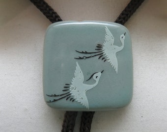 Very Cool, Very Different Crane Decorated Pottery Bolo Tie