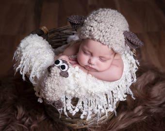 Newborn prop Baby prop Animal prop Lambkin prop Baby Prop Set Baby twins prop Lambkin Hat Sheep Hat Baby Girl Baby Boy Prop Hat and Pants