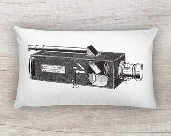 Vintage Camera Lithograph Style Illustration Black and White Cutaway Detail Rectangular Pillow 12x20