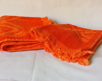 Mid Century MCM St. Mary's Orange on Orange Fringed Bath Hand Towel 2 pcs