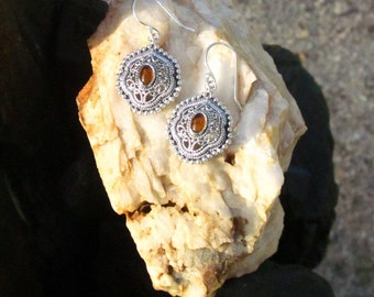 Amber & Antiqued Sterling Silver Bezel Set Earring - #6