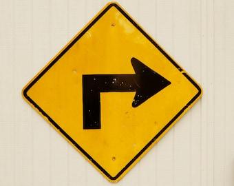 Vintage Right Turn Sign, Metal Sign, Vintage Metal Sign, Industrial Sign, Vintage Metal Sign, Vintage Industrial,