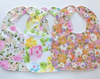 Baby Bib Set of 3 - Adjustable - Made From Vintage Fabric - Snap Closure - Baby Girl Floral Bib - Baby Gift Set - Handmade - Toddler Bib