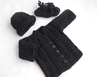 baby boy sweater, baby sweater, black baby sweater boy, crochet, baby cardigan, crochet baby sweater set, infant sweater 0 to 3 months goth