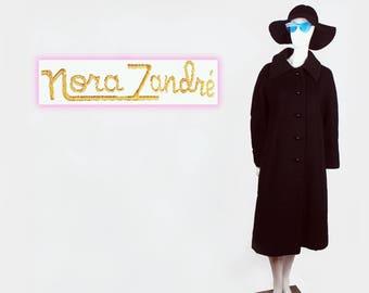 1960's Nora Zandre Mod Wool Pea Swing Coat Size large