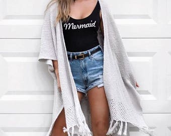 Mermaid Bodysuit Leotard Top Womens Ladies Girls T Shirt Tumblr Hipster Grunge Retro Vtg Indie Boho Swag Summer Shell Cute Kawaii Unicorn