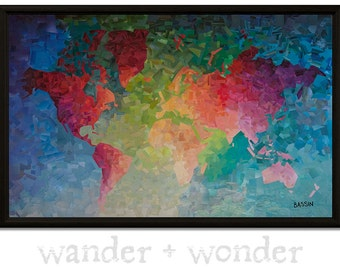 Artsy world maps for those who like to by wanderwonderworldmap large artistic world map on canvas or pin board colorful gradient collage gumiabroncs Image collections