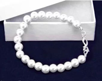 Pearl and Silver Ribbon Charm Bracelet Awareness Generic All Cancer Support