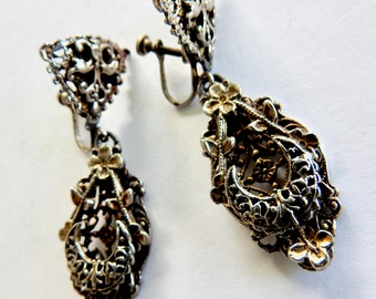 1930s Silver with Gold Accents Dangle Screw Back Earrings