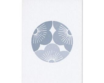 Postcard Japan Kamon blue plum blossom