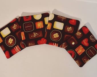 Life is Like a Box of Chocolates - Set of 4 Fabric Drink Coasters