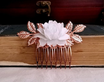 Rose gold hair comb White Rose bridal comb Flower wedding hair comb