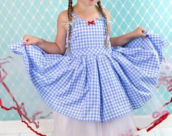 Dorothy Costume, Wizard of Oz dress, Dorothy dress, blue gingham dress, girls costume, Lover Dovers, Halloween Costume