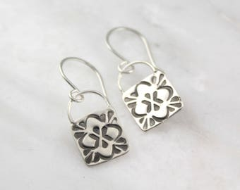 Sweet Stamped Square Silver Earrings