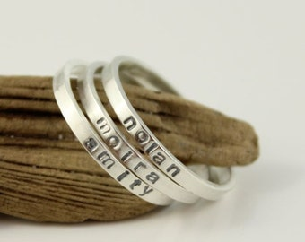 skinny name ring - personalized stackable stacking ring, hand stamped sterling silver stacking ring, custom made jewelry