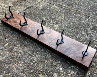 Five Hook Walnut Coat Rack