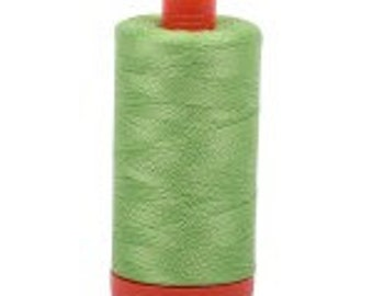 Shining Green Aurifil Mako Cotton Thread Color 5017, 50 wt, 1300m, 1 spool