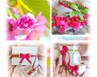 Hot pink and lime green weddings ring pillow, flower girl basket, basket, guest book and bridal garter set.