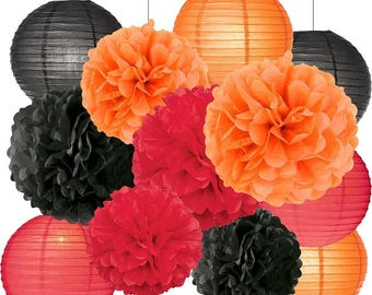 Halloween Party Decorations Kit Tissue Paper Pom Poms Paper Lanterns Orange Black Red Theme Halloween Decoration Paper Flower