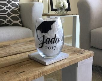 Graduation gift. Graduation wine glass. Graduate gift. Graduate wine glass. Class of 2017. Gift for graduate. Gift for graduating. Grad gift