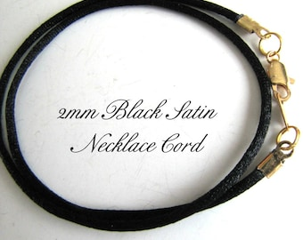 25 Inch to 40 inch Black Satin Necklace Cord, Extra Long Cord, Silver,  Gold,  Antique Brass Lobster Clasp,  Custom,   Jewelry  Accessory,