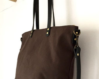 CARRIER CROSSBODY TOTE | Diaper Bag | Work Bag | Waxed Canvas Leather | Zipper Top | 4 Pockets | Waterproof | Brown | Made To Order