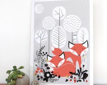 Woodland sleepy foxes digital download, woodland fox poster, sleeping foxes, woodland animals, home decor wall print, cute fox ar