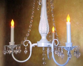 WHITE  Hanging CHANDELIER CANDLE Holder  - Oak 3 arm White with Clear Acrylic Crystals    /Outdoor /Indoor