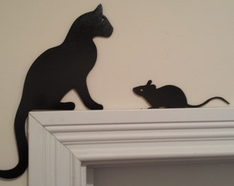 Cat and Mouse Silhouettes  Door Topper / Window Topper / Wall hanging Handcrafted and Painted. Perfect Gift for the Cat Lover! - 2 Piece Set