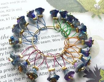 20 Knitting stitch markers Czech dark flowers