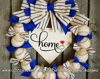 Baseball Wreath with burlap bow - Made with REAL balls!!! Home Base Sign -Softball-Home plate- Ballfield- MLB - Baseball-Front Door Wreath