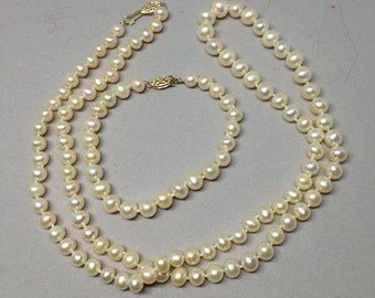 14K Single Strand of Hand-Knotted Pearls, Never Worn