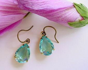 Aqua Glass Earrings - Brass and Open Back - Teardrops or Pear