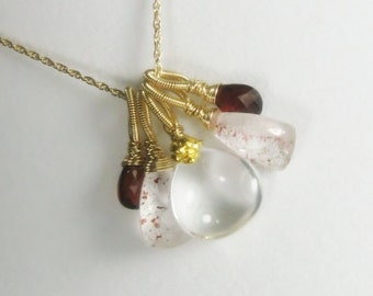 Gemstone pendant, lepidocrosite, quartz, garnet, 18k accent, gold filled pendant necklace