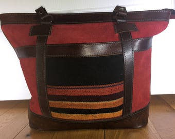 Bolivian hand made leather and suede bag