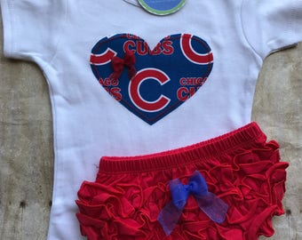Chicago Cubs Inspired Shirt and Diaper Cover