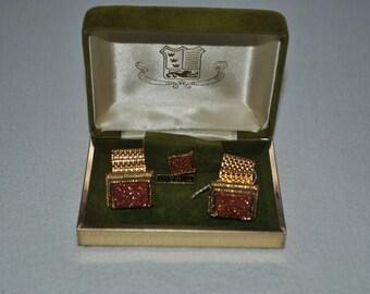 Cuff Links, matching, Tie, Tack, Real, Gold, Dust, Quartz, Original, Jewelers, Box, 3, Piece, Set