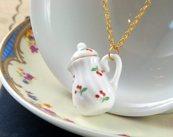 Cherry Teapot Necklace - Tea Wedding Favour - Teapot Jewellery - Tea Lover Gift