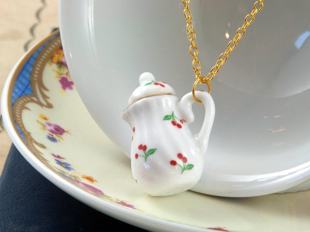 Cherry Teapot Necklace - Tea Wedding Favour - Teapot Jewellery - Tea Lover Gift