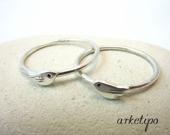 Sterling silver Bird Ring  - Stack ring - Stackable - Stacking - Silver Bird Band