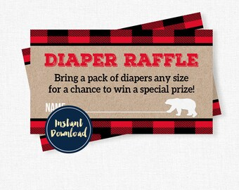Lumberjack Baby Shower Diaper Raffle, Diaper Raffle Tickets, Red Plaid Bear Diaper Raffle INSTANT DOWNLOAD