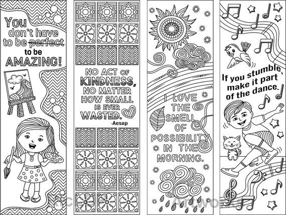 8 Färbung Lesezeichen mit Gefühl gute Zitate Druckbare