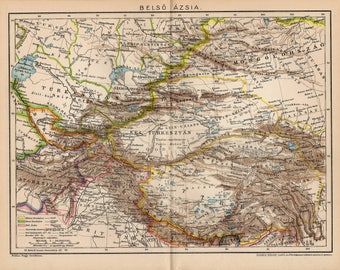 Antique map of Inner or Central Asia from 1893