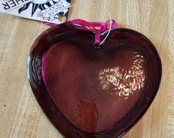 Vintage Dead Stock with Original Tag Glass Sun Catcher Light Catcher Purple Heart 1996 Gift Window Kitchen Hand Molded Glass