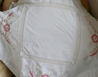Vintage Pillow Case, Antique Cushion Cover, White Pink Cotton Bedding French Home Decor Floral Embroidery