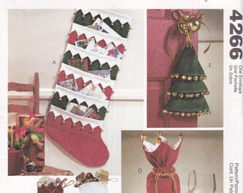 FREE US SHIP McCalls 4266 Sewing Pattern Jingle Bell Christmas Card Holder Stocking Bottle gift bag Door Knob Hanger