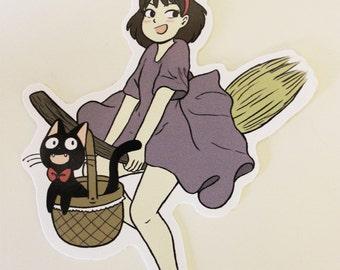 Studio Ghibli - Kiki &Jiji- Sticker - 7cm X 10cm - Kiki's Delivery Service